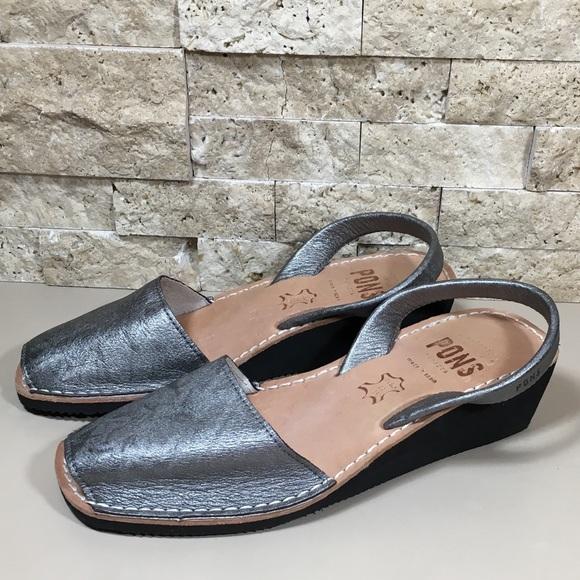 37fb14edcfa6 Avarcas Shoes - Avarcas Pons Pewter Leather Wedge Sandal Size 8